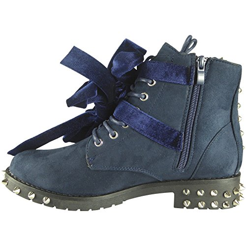 Combat Army Spikes Size Buckle Up Blue Ladies Boots 8 Studded Tie 3 gwYRBX