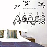 Bling2Bling 【Owl Family】Home Decor Waterproof Wall Sticker Vinyl Reusable Wall Decal/Wallpaper