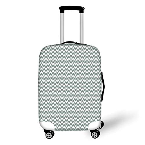 Travel Luggage Cover Suitcase Protector,Abstract,Curvy Different Sized Lines Bold Stripes Ocean Waves Inspired Pattern,Light Sage Green White,for TravelM 23.6x31.8Inch