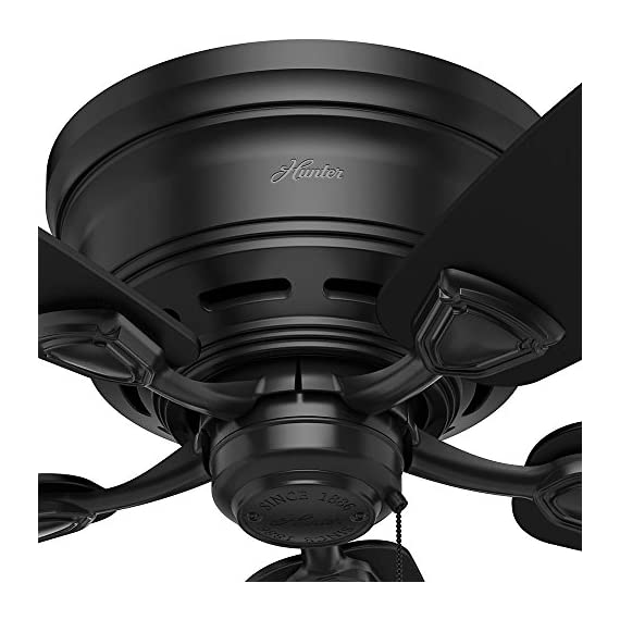 Hunter Indoor / Outdoor Low Profile Ceiling Fan, with pull chain control - Sea Wind 48 inch, Black, 53118 6 WhisperWind motor delivers ultra-powerful air movement with whisper-quiet performance so you get the cooling power you want without the noise you don't Reversible motor allows you to change the direction of your fan from downdraft mode during the summer to updraft mode during the winter 5 Matte Black Plastic blades included