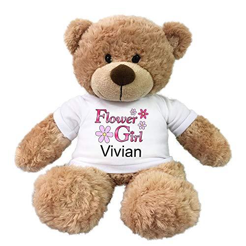 - Personalized Flower Girl Teddy Bear - 13 Inch Tan Bonny Bear