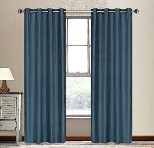 Qutain Linen Faux Silk Grommet Curtain Window Panel (55