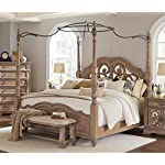 Coaster Ilana Collection 205071KE King Size Canopy Poster Bed with Carved Scrolls Over Antique Mirrors Camel Back Footboard/Headboard Pine Wood and Walnut Veneer Construction in Antique Li