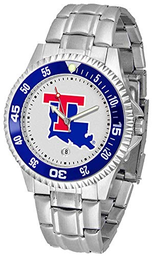 Louisiana Tech Bulldogs Suntime Competitor Game Day Steel Band Watch - NCAA College Athletics