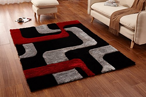 Casa Regina Shaggy Collection - 3D Design - Abstract Lines Red Black Soft Shag Area Rugs 5x7 (Canvas Contemporary Rug)