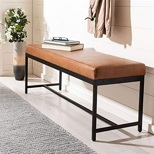 Safavieh BCH6204A Home Modern Chase Brown Faux Leather Bench, 47.3'' x 16'' x 19.5'',