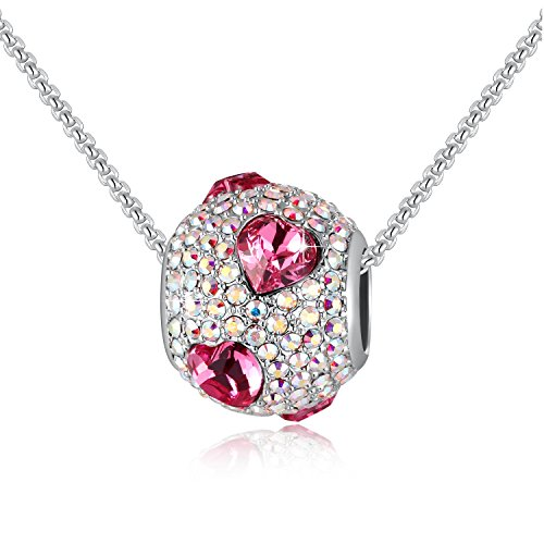 SUE'S SECRET Woman Jewelry Beads Necklace, Heart Shape Crystal Round Beads Charms Pendant Necklace, Rose Red Love Heart Beads Necklace with Swarovski Crystals, February Birthstone Birthday ()