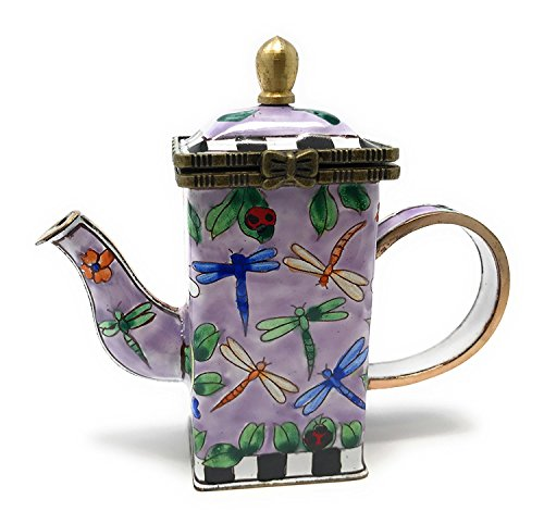 Kelvin Chen Dragonflies Enameled Miniature Hinged Lid Teapot, 3.5 Inches Tall