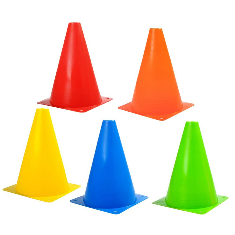 7 inch Training Cones Sports Traffic Cone for Football Soccer Skating Safety Agility & Other Activities (Set of 10,5 Colors) Happy Hours