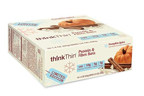 thinkThin Protein & Fiber Bars, Pumpkin Spice, 1.41 oz Bar (10 Count)