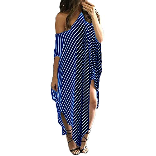 Women Irregular Striped Maxi Dress, Oversized O-Neck Bat-Wing Sleeve Side Split Loose Beach Dresses (XL, Blue)