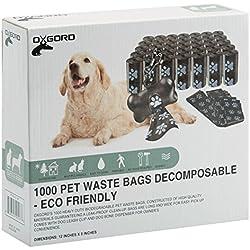 OxGord Dog Poop Bags Biodegradable for 1000 Black Waste Scoops Leash Dispenser