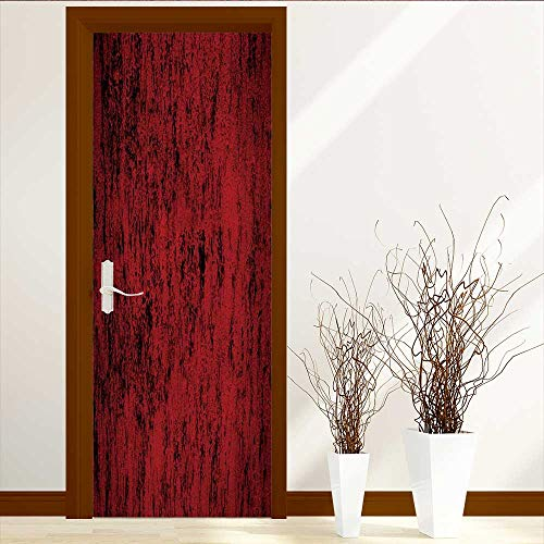 VROSELV Static Cling Glass Film Abstract red Privacy Window Film Decorative Window Film W35.4 x H78.7 by VROSELV