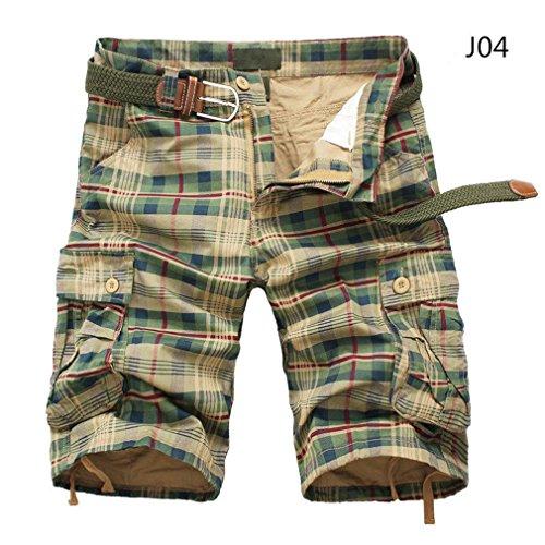 Fashion Plaid Beach Shorts Mens Casual Camo Camouflage Shorts Short Khaki 34