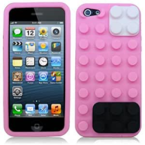 OnlineBestDigital - Brick Style Soft Silicone Case for Apple iPhone 5S / Apple iPhone 5 - Pink with 3 Screen Protectors