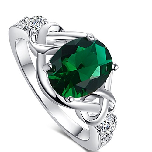 Veunora 925 Sterling Silver 8x10mm Oval Cut Emerald Quartz and White Topaz Filled Ring Jewelry for Women