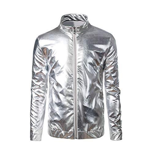 Men's Shiny Zipper Jacket Hooded Gold Hip Hop Nightclub Varsity Baseball Bomber Jackets -