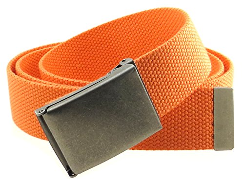 Orange Web - Canvas Web Belt Flip-Top Antique Silver Buckle/Tip Solid Color 50
