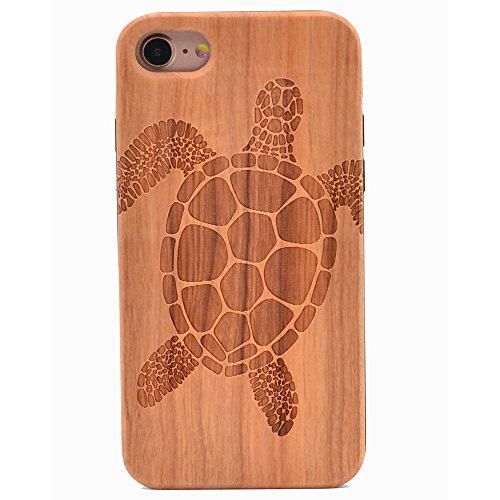 - iPhone 6S Case Sea Turtle Pattern Wood Case Handmade Carving Real Wooden Case Cover with Rubber Case Back for Apple iPhone 6,iPhone 6S
