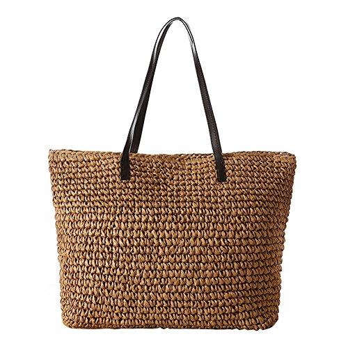 Stylish Light Straw Tote Beige Bag Bags Summer Leisure Travel Shoulder Simple Women Bag Brown TININNA Beach Bag EnTqgwZn