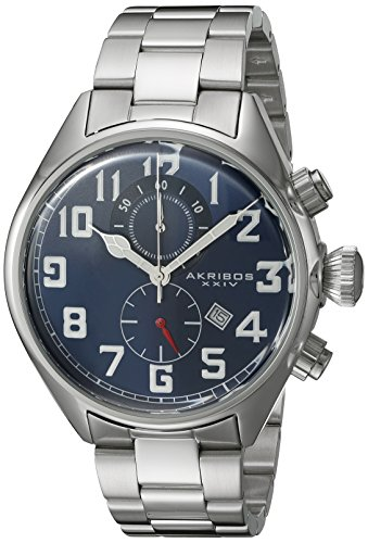 Quartz Movement Stainless Steel Bracelet - Akribos XXIV Men's AK853BU Round Blue Dial Chronograph Quartz Movement Stainless steel Bracelet Watch