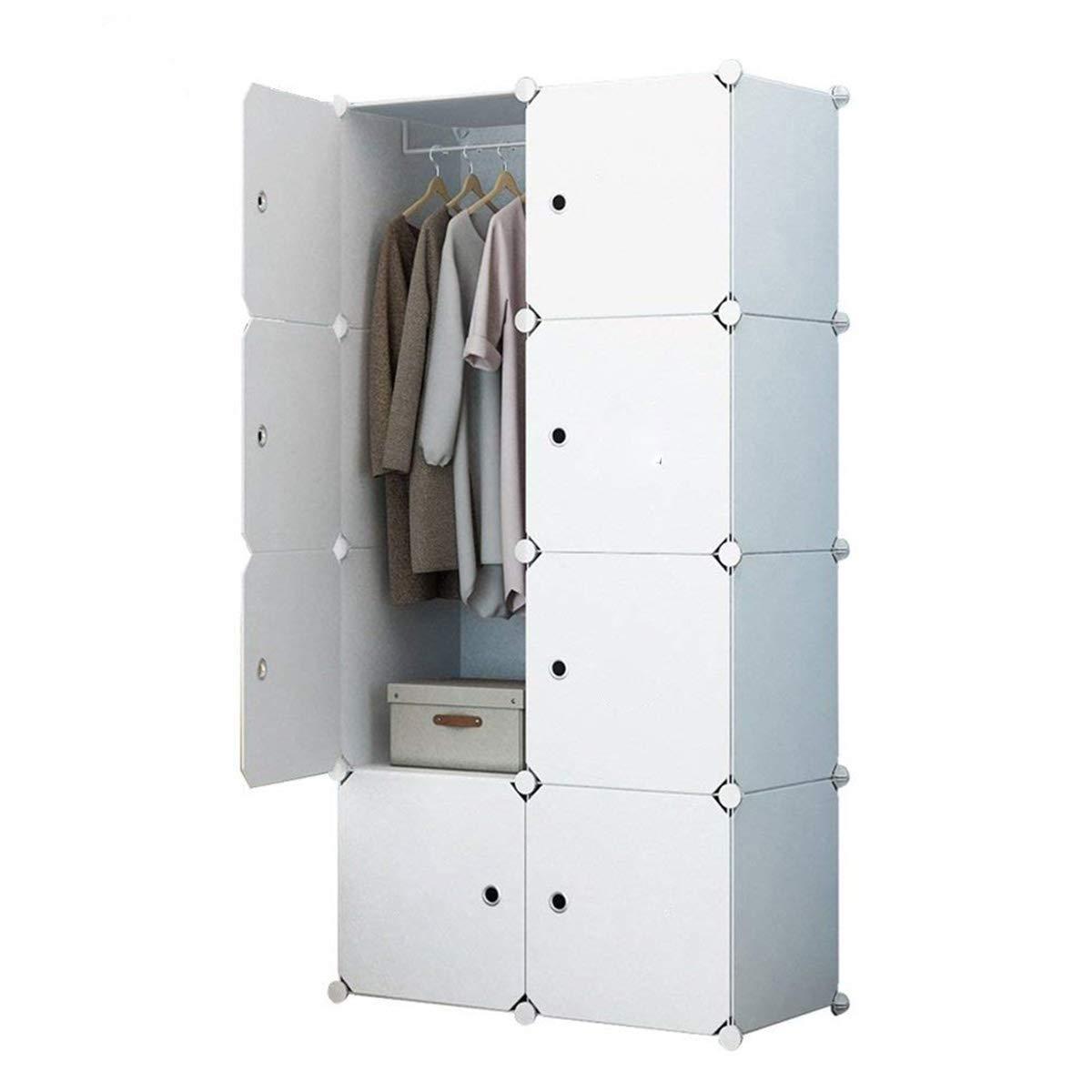 KOUSI Portable Clothes Closet Wardrobe Bedroom Armoire Dresser Cube Storage Organizer, Capacious & Customizable, White, 10 Cubes & 2 Hanging Clothes