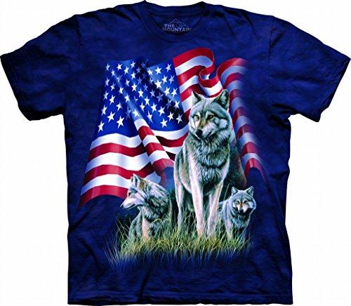 The Mountain Mens Wolf Flag Short Sleeve T-Shirt, Blue, Medium