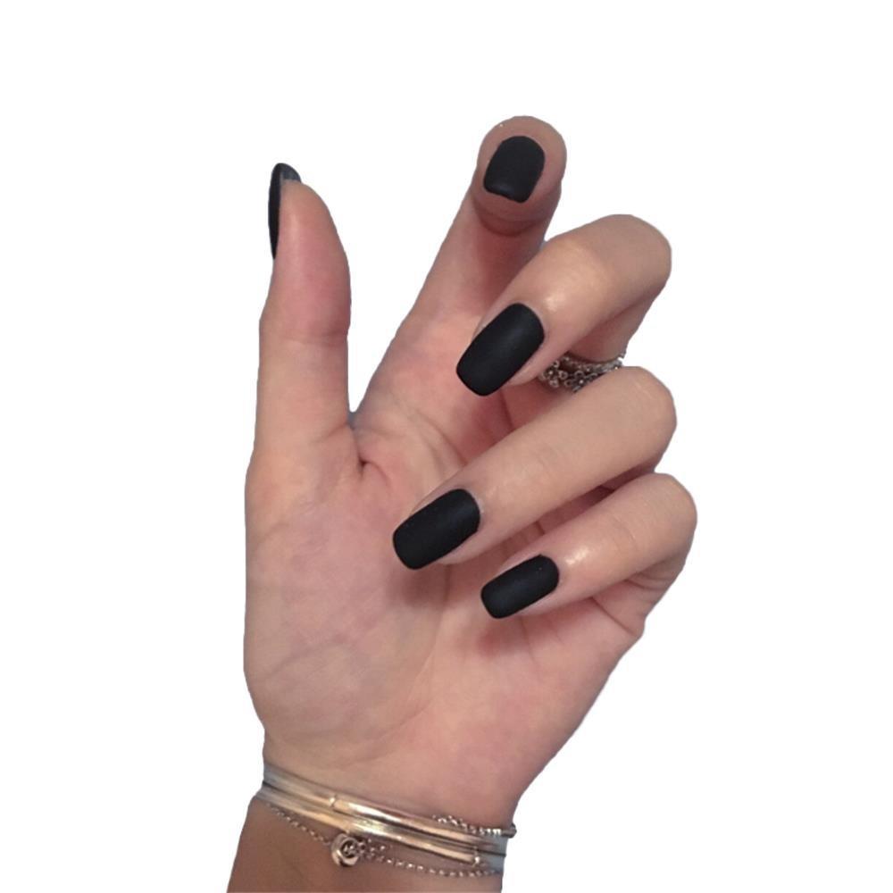 24 Pcs Black Matte Fake Nails with Glue Design Full Cover False Nails French Acrylic Nail Art Tips for Women Girls Lanx yuamy li