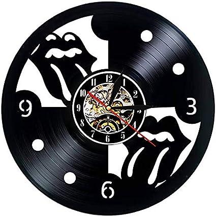 BFMBCHDJ Reloj de pared de vinilo Reloj de pared de diseño moderno Banda de rock Rolling Stone Reloj de música Reloj de pared Decoración del hogar Ventilador de regalo