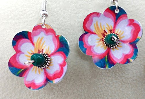 (Dogwood Flower Earrings, Sterling Silver Earrings, Dimensional, Metal and Glass, Lightweight, Handmade, Unique Design, Designed by Artist, Ships Free)