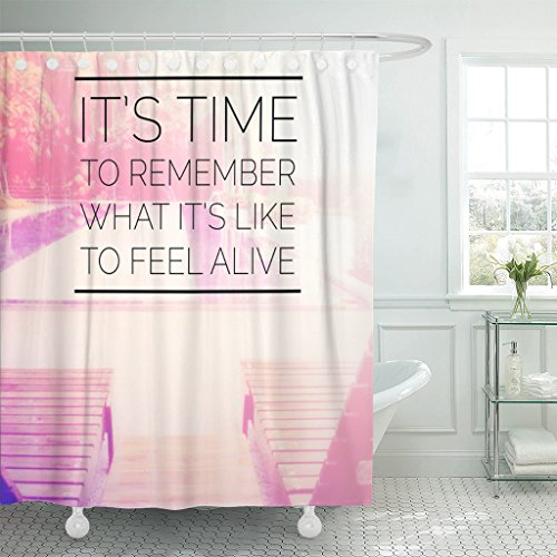 TOMPOP Shower Curtain Life Inspirational Quote On Blurred