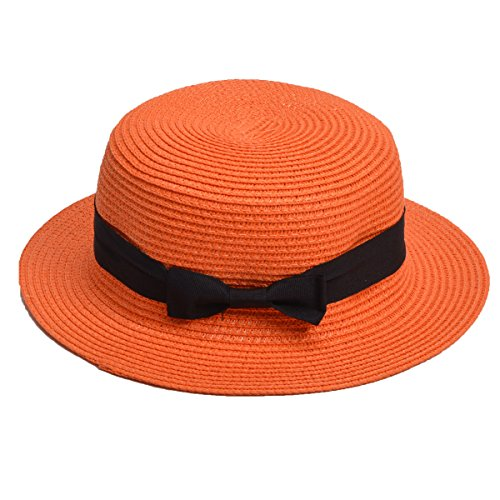 Lawliet Womens Straw Boater Hat Fedora Panama Flat Top Ribbon Summer A456 -