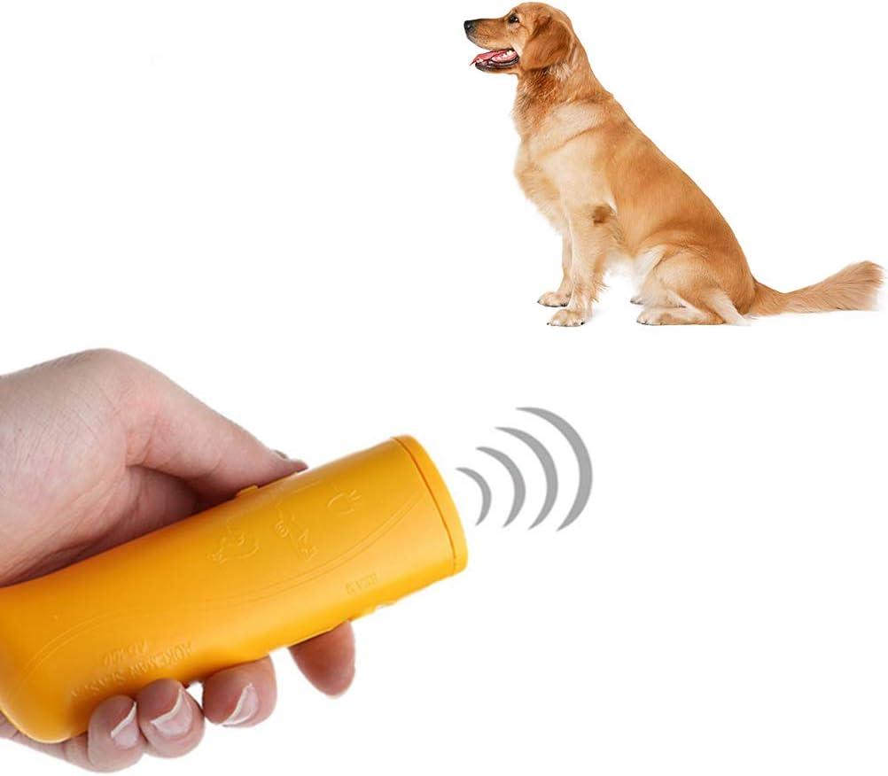 Urisgo - Repelente de perros LED ultrasónico antibarco 3 en 1 dispositivo anti ladridos herramienta de entrenamiento