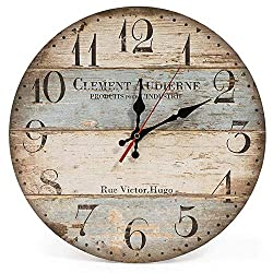 12 Inch Silent Vintage Design Wooden Round Wall Clock, Arabic Numerals,Vintage Rustic Shabby Chic Style,Blue and Brown Multi Bars,Wooden Round Home Decoration Wall Clock (12 inch)
