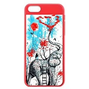 Retro Vintage Elephant Protective Orange Hard Shell Colorful Cover Case for iPhone 5C
