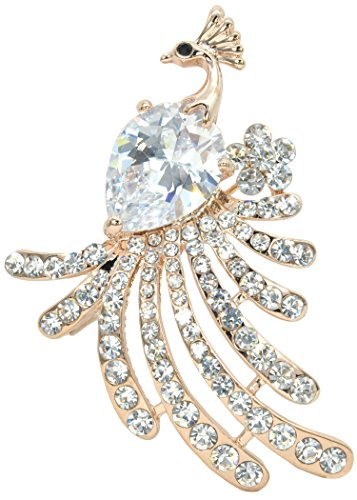 (Gyn&Joy Gold Plated Clear Cubic Zirconia Phoenix Bird Rhinestones Brooches and Pin for Party BZ079)