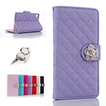 Uming? Camellias Series Case Holster for IPhone6Plus IPhone6SPlus IPhone 6Plus 6SPlus with Holder Stand Elegant Lady Bling Glitter Shiny Crystal flower Folio Wallet PU Leather Flower Lattice Grid Flip Case Bag Cover Protector Skin + 1PC Anti Dust Plug - Purple