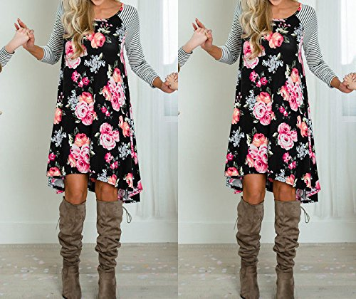 707c182f2b4 Amazon.com  Mommy Me Floral Striped Print Long Sleeve Casual Tunic Loose  Knee Length T-Shirt Dress  Clothing