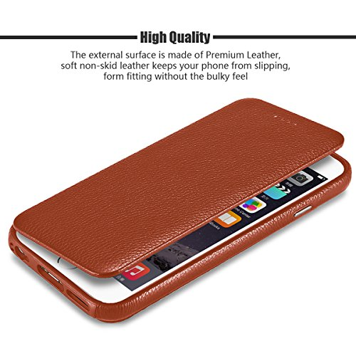 online store e0867 047ed iPhone 6 Plus Case, [2 in 1 Style] [Detachable Magnetic] Folio Flip Cover  Case [Wristlet Strap], Genuine Leather Case [Card Slot] [Simple Stand] for  ...