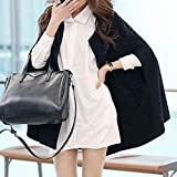 Kemilove Womens Large Size Solid Color Cloak Woolen Coat in The Long Section of The Shawl Coat