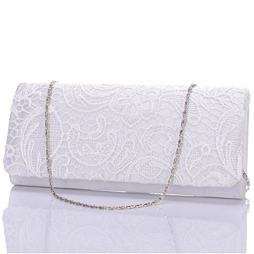Evening Women's Bag Clutch Rcdxing Lace Wedding Wallets Bridal White ZFxYFAwdqv