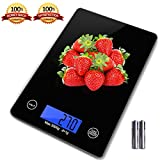 Digital Food Scale, Zdatt 11lb/5kg Touch Operation Kitchen Scale, Tempered Glass Platform with LCD Display, Support lb, oz, ml and gram Measure-Rectangle/Black