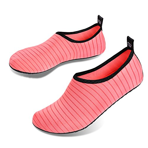 Womens Swim Barefoot Shoes Skin Beach Diving Surfing Yoga Pink Snorkeling Running Mens Striped Water Exercise Outdoor Shoes for Socks IceUnicorn wC4WxAqptc