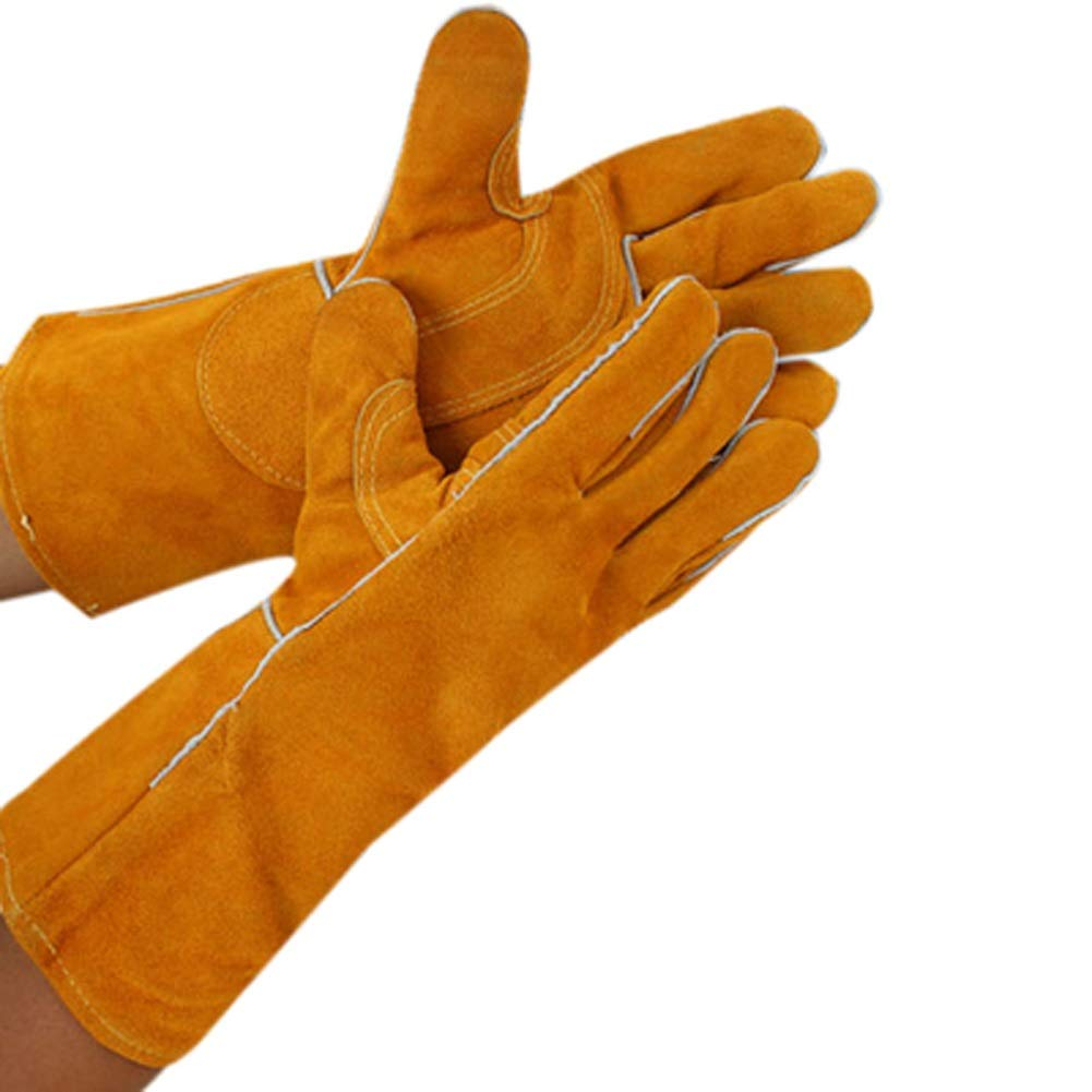 AINIYF Heavy Duty Thick Welding Gloves, Flexible Sturdy Large Cowhide Fireplace Gloves, High Heat Proof Fire Resistant Gloves For Arc, Tig, Stick, Mig Welding/14inches/15.7inches (Color : A-35cm) by AINIYF (Image #1)