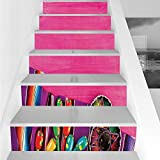 Stair Stickers Wall Stickers,6 PCS Self-adhesive,Mexican Decorations,View of Folkloric Serape Blanket Charro Hat and Music Instruments,Fuchsia Purple,Stair Riser Decal for Living Room, Hall, Kids Room