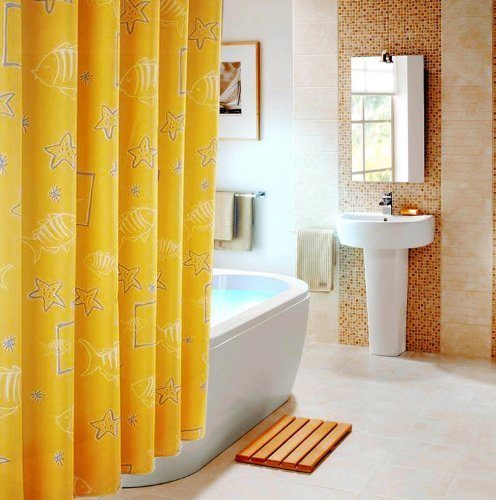 ElleWeiDeco Yellow Marine Life Mildew Proof Polyester Fabric 72x72 Inch Shower Curtain