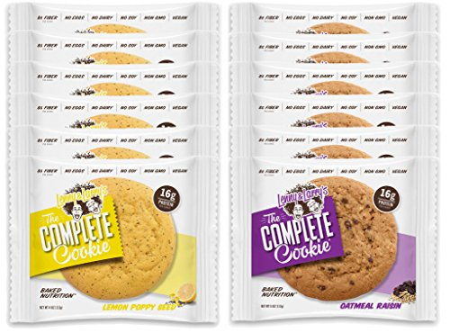 Lenny & Larry's The Complete Cookie - 6 Lemon Poppy Seed and 6 Oatmeal Raisin (Pack of 12)