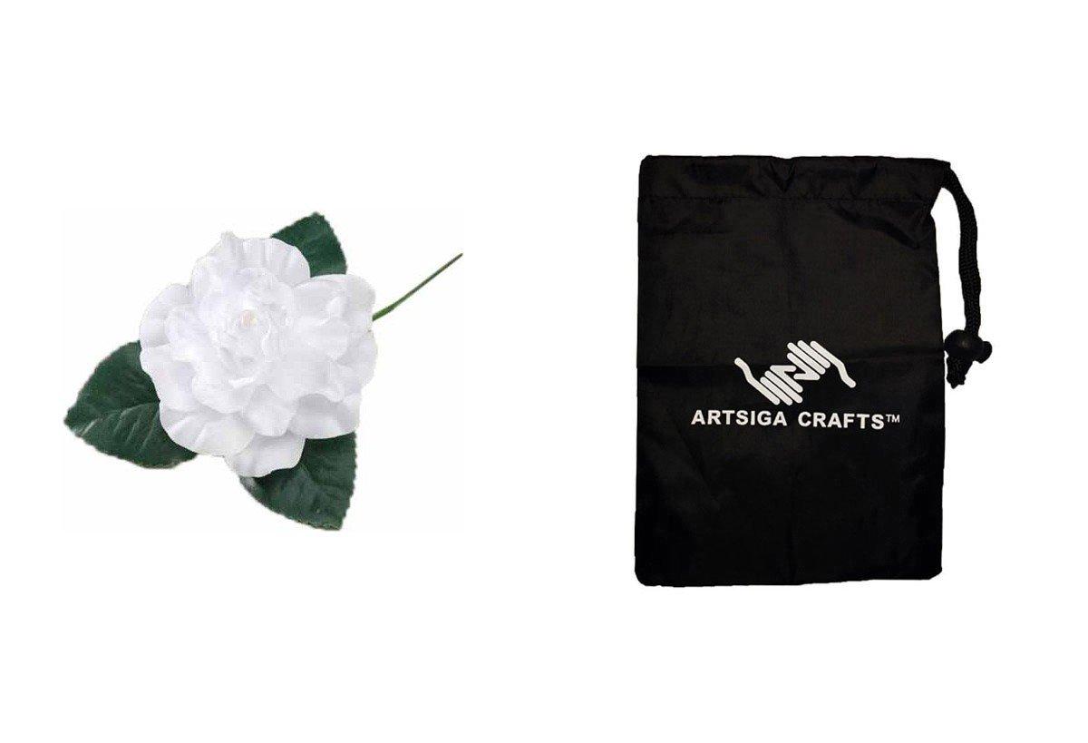 Darice Wedding Flower Pick Gardenia Floral White Large (36 Pack) V 3914 01 bundled with 1 Artsiga Crafts Small Bag