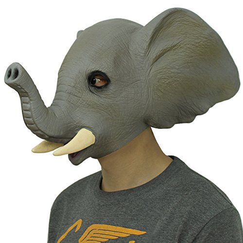 Deluxe Novelty Latex Rubber Creepy Elephant Mask Halloween Party Costume Decorations One -