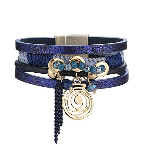 Gowind6 Rhinestone Alloy PU Leather Magnetic Buckle Geometric Pattern Bracelet Blue